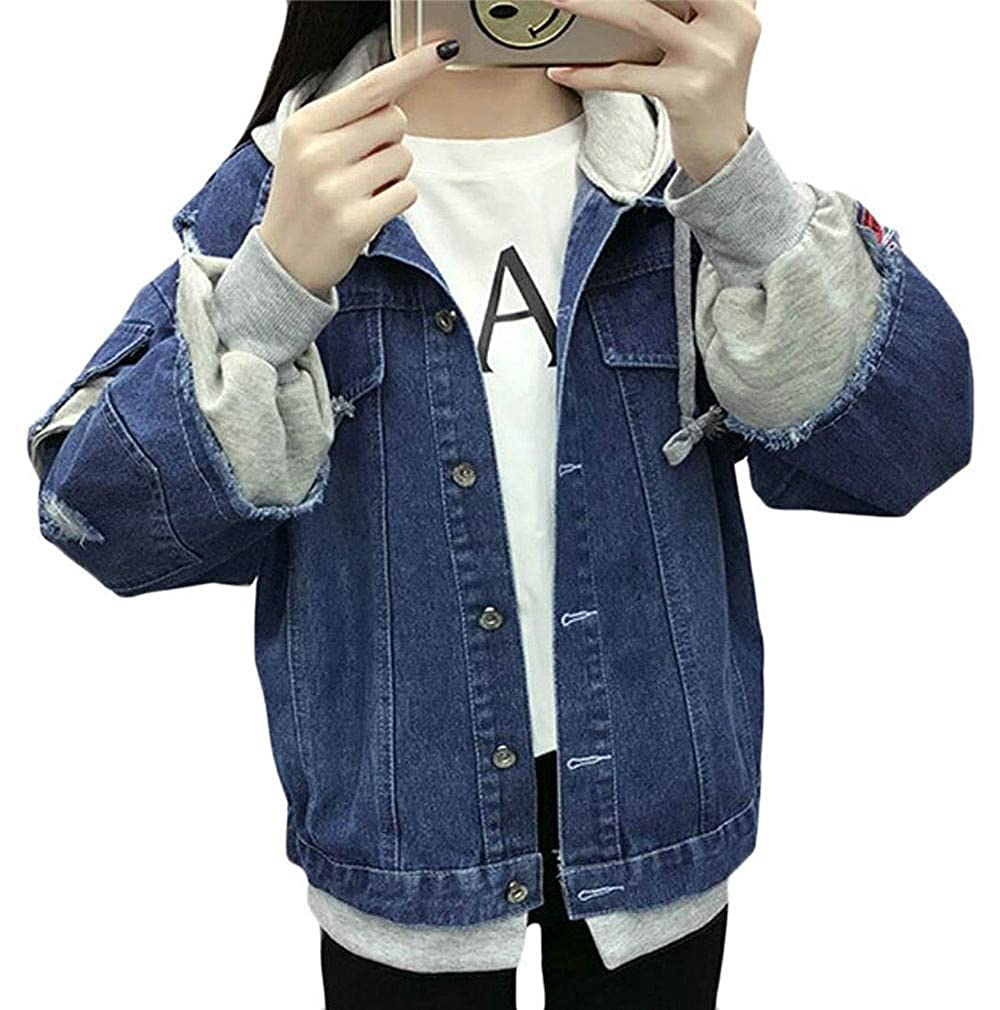 Darkbluee Women's Loose Boys Hooded Hole Half Body Jacket Denim Jacket