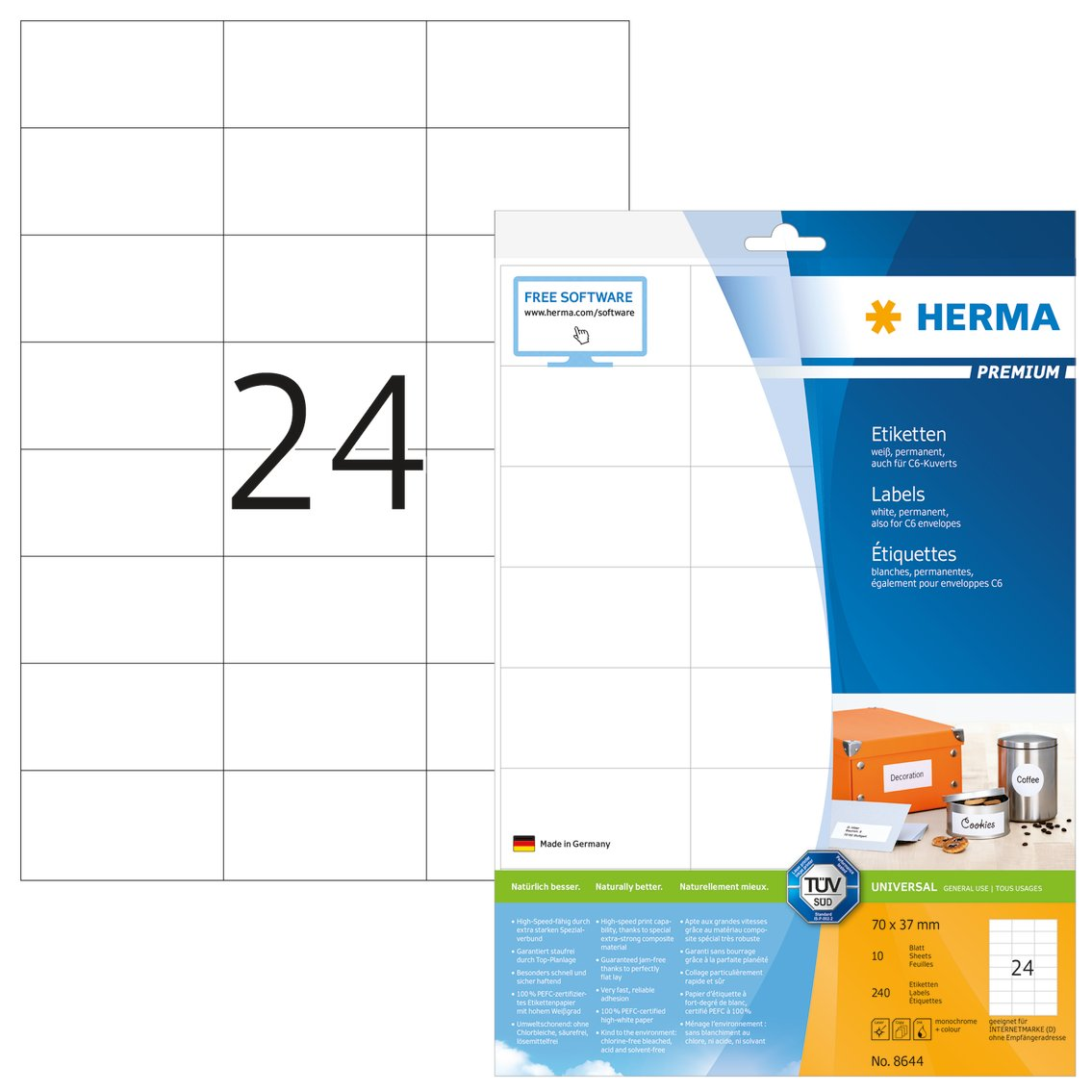 Herma 8644_ A4, 70 x 37 mm - Pack de 240 etiquetas, A4, 70 x 37 mm, color blanco: Amazon.es: Oficina y papelería