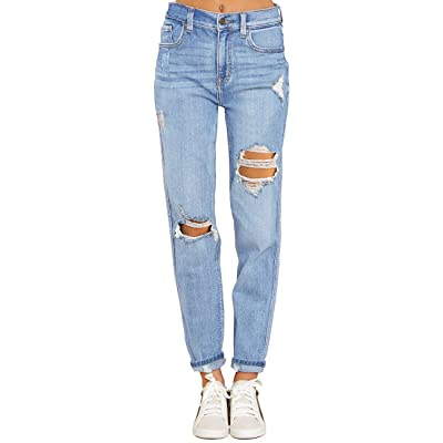 Vetinee Womens High Rise Destroyed Boyfriend Jeans Washed Distressed Ripped Denim Pants