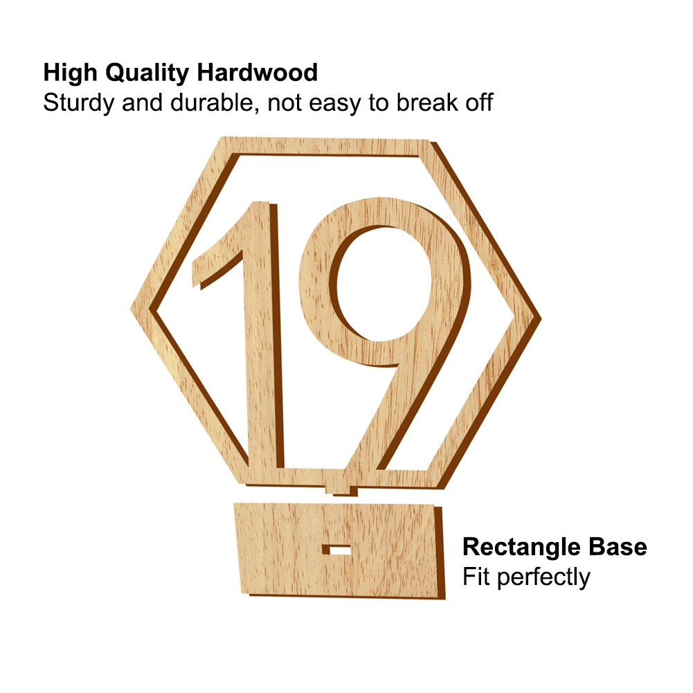 Rely2016 Wooden Table Number, 1-20 Wedding Wood Table Numbers Hexagon Geometric Reception Stands Décor for Wedding Banquet Birthday Party Events (1-20) by Rely2016 (Image #3)