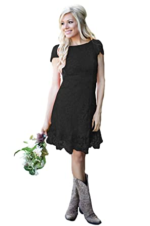 52f1dec092c Womens Short Country Bridesmaid Dress Full Lace A Line Wedding Guest Dresses  2019 Black US0