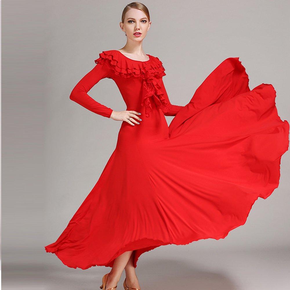 ZTXY Modern Modern Modern Frau große Pendel Lotus Leaf modern Dance Kleid Tango und Walzer tanzen Kleid Tanzwettbewerb Rock Langarm Lace Kragen Tanz Kostüm B07LFWZ5YF Bekleidung Einzigartig a594d3