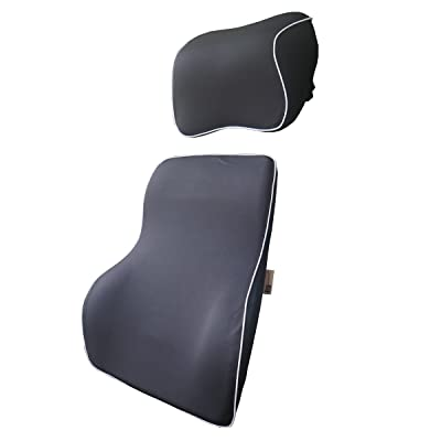 LoveHome Lumbar Support Cushion For Car And Headrest Neck Pillow Kit - Ergonomically Design Universal Fit Major Car Seat - Black: Automotive