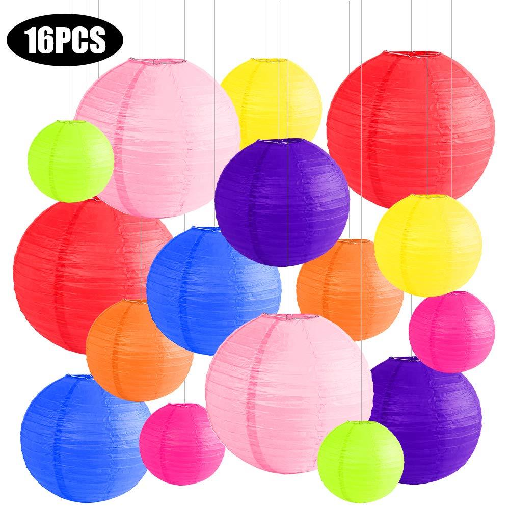 ANTOPM 16 Piezas Linternas de Papel Farolillo 10//8//6//4 Papel Redondo Multi coloreado para Decoraci/ón