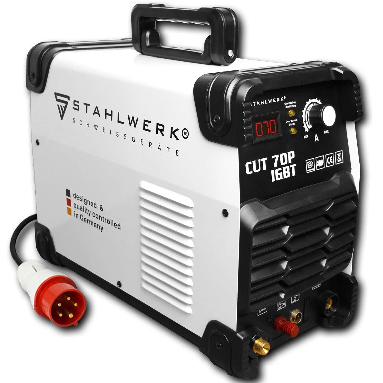 STAHLWERK CUT 70P IGBT - Cortador de plasma (70 amperios, encendido piloto, capacidad de corte de hasta 25 mm, apto para óxido de acero), color blanco: ...
