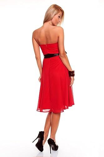 b3e442c38f3c Knielanges Bandeau Kleid Chiffon Ballkleid Abendkleid Cocktailkleid  Festkleid XS bis XXL S (34) Rot  Amazon.de  Bekleidung