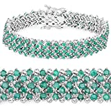 925 Sterling Silver Bracelet Emerald Round 10.73 ct Genuine Gemstone 7.50 inches