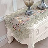 TaiXiuHome Green Hollow Lace Floral Embroidered Modern Dining Home Table Runner Table flags for Party Wedding Decoration 16 x 48 inch approx