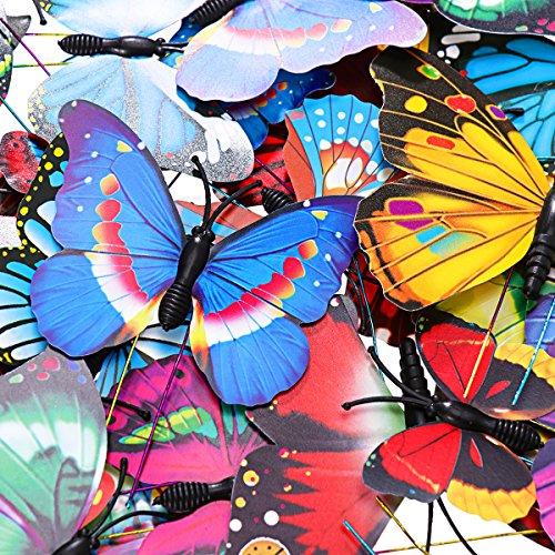 WINOMO Set of Bicycle Decor Bike Bicycle 108pcs Wheel Spoke Beads Luminous Plastic Round Spoke Bead 30pcs Butterflies Clips 6pcs Dragonflies Clips by WINOMO (Image #1)