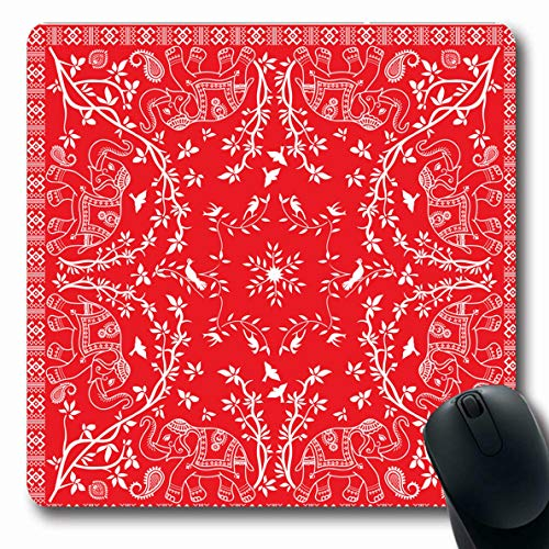 Ahawoso Mousepads Scarf Paisley Red White Elephant Asian Bandana Pattern Handkerchief Bandanna Colour Oblong Shape 7.9 x 9.5 Inches Non-Slip Gaming Mouse Pad Rubber Oblong Mat