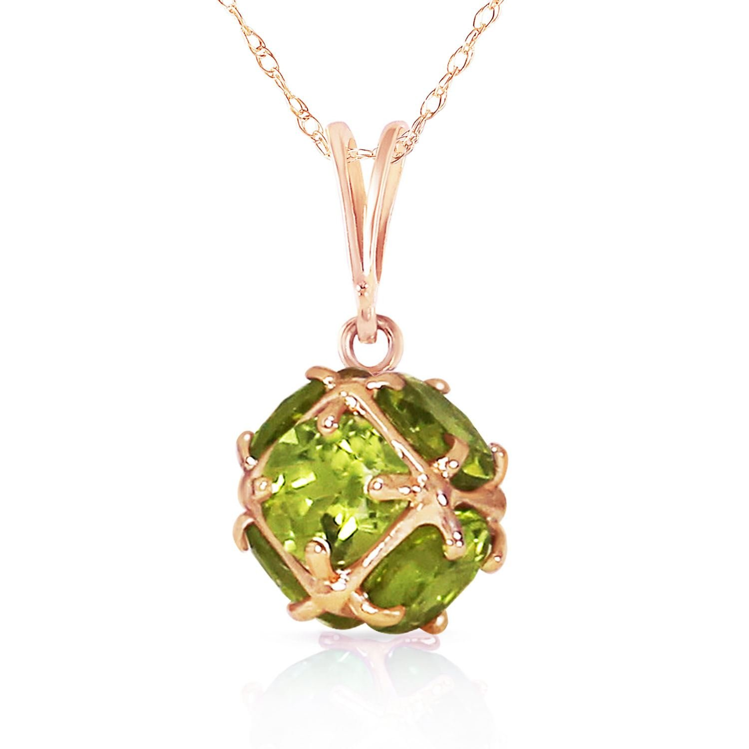 ALARRI 14K Solid Rose Gold Necklace with Natural Peridots with 20 Inch Chain Length