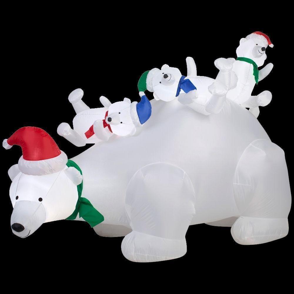 Christmas Inflatable 6' Momma Polar Bear w/ Santa Hat & Cubs By Gemmy