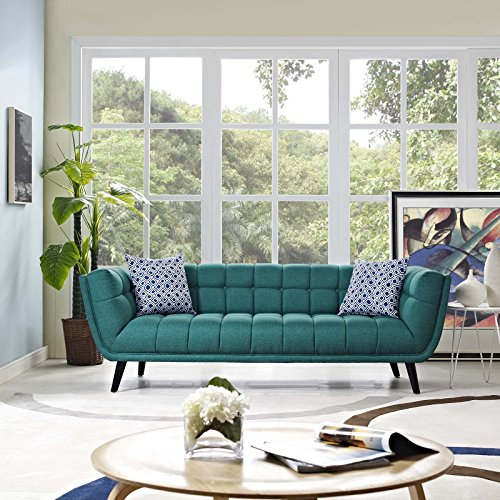 Modway Bestow Upholstered Fabric Button-Tufted Sofa In Teal