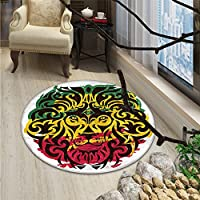 Rasta Round Area Rug African Ethiopian Culture Wild Lion Head Grunge Style Flag ColorsOriental Floor and Carpets Brown Marigold Pink and Green