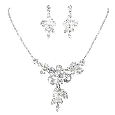 Brautschmuck set silber  EVER FAITH® österreichisches Kristall Elegant Braut Blume ...