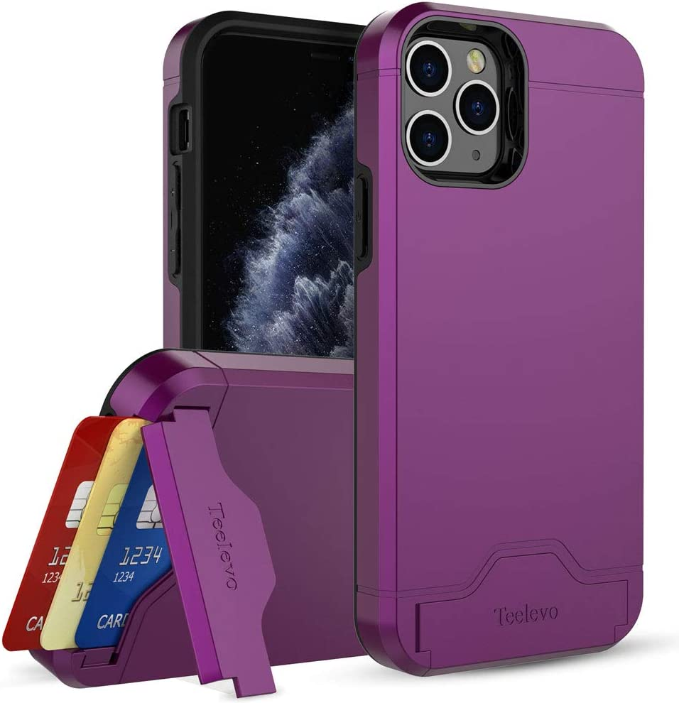 Teelevo Wallet Case for iPhone 11 Pro, Dual Layer Case with Card Slot Holder and Kickstand for Apple iPhone 11 Pro - Purple