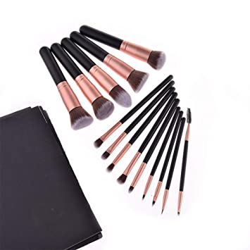 Yuanline Brochas de Maquillaje 14 piezas Pinceles de maquillaje professional fibra sintética para las cejas, base de maquillaje, polvos, crema, Set de ...