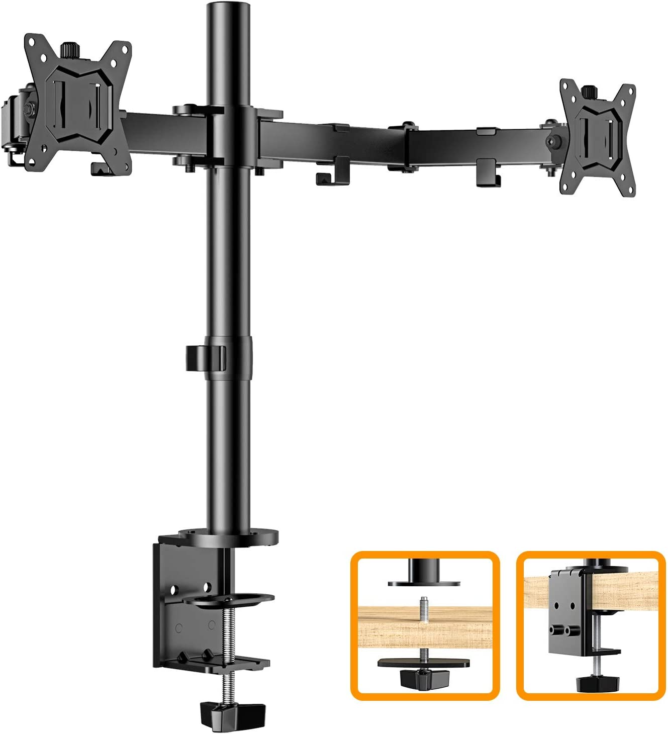 "ErGear 17-32"" Dual Monitor Stand Mount, Heavy-Duty Fully Adjustable Desk Clamp Arms for Computer Screens, Loads up to 17.6lbs per arm w/Swivel and Tilt, 75/100mm VESA, Black - EGCM1"