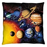 Solar System Planets Group Shot Outer Space Throw Pillow