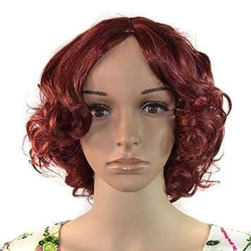 wig Corto Rizado Pelucas Hembra separada en el Medio Volumen pequeño Lugar de Trabajo Mujer Rose