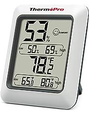 ThermoPro TP50 Termometro Igrometro Digitale per Ambiente Misuratore di umidità e Temperatura Interno per Casa Termoigrometro Professionale per Misura Stanza, Grau, 1 Pezzo