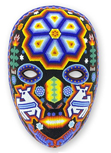 NOVICA Decorative Huichol Papier Mache Mask, Multicolor 'Shaman Deer' (Shaman Mask)