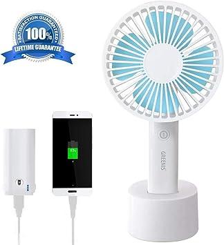 GREENIS Améliorez le ventilateur de bureau électrique portable le mini ventilateur silencieux le mode 3 vitesses pour le bureau à domicile et les