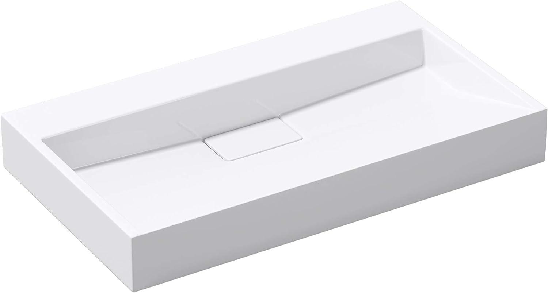doporro Lavabo sobre encimera/suspendido blanco de diseño Colossum19 de 80 cm de Ancho