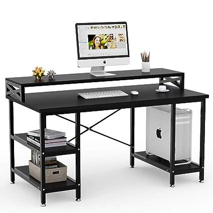 Modern office desks for home Inspiration Tribesigns Computer Desk With Storage Shelves 55quot Large Modern Office Desk Computer Table Studying Amazoncom Amazoncom Tribesigns Computer Desk With Storage Shelves 55