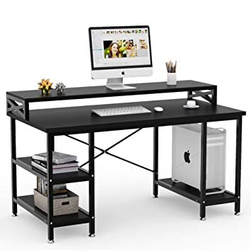 Amazoncom Tribesigns Computer Desk With Storage Shelves 55