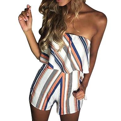 4783ce5de46 uBabamama Women Sleeveless Off Shoulder Playsuit Plaid Stripe Jumpsuit  Summer Beach Dress (S