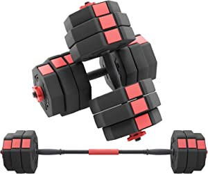 Soges Adjustable Dumbbells pair, Iron sand mixture Octagonal designed, Anti rolling Fitness Dumbbells HSYL001-30
