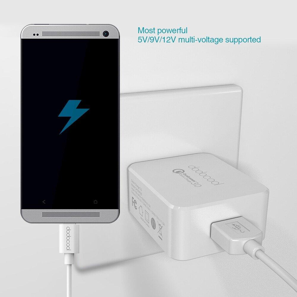 [Qualcomm 認証済み] dodocool USB充電器 高速充電 3.0 18 w USB 壁式チャージャー Android スマホ タブレット LeTVルMAX Pro用 米国 プラグ