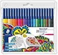 Staedtler 326WP20AC Noris Club Fibre-Tip Pen with Wallet - Assorted Colours, Pack of 20