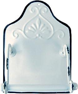 Treasure Gurus Antique Style Enamel Toilet Paper Holder Wall Mount Bathroom Hand Towel Bar Rustic Decor