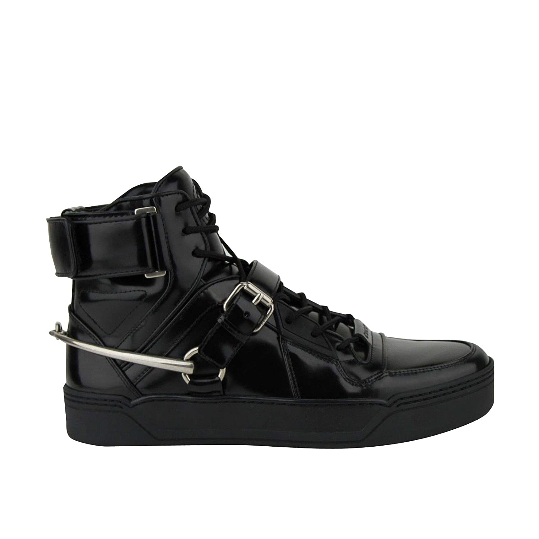 9600e086d Amazon.com: Gucci Men's Strap Horsebit Black Patent Leather Hi Top Sneaker  407373 1000 (10.5 G/US 11.5): Shoes