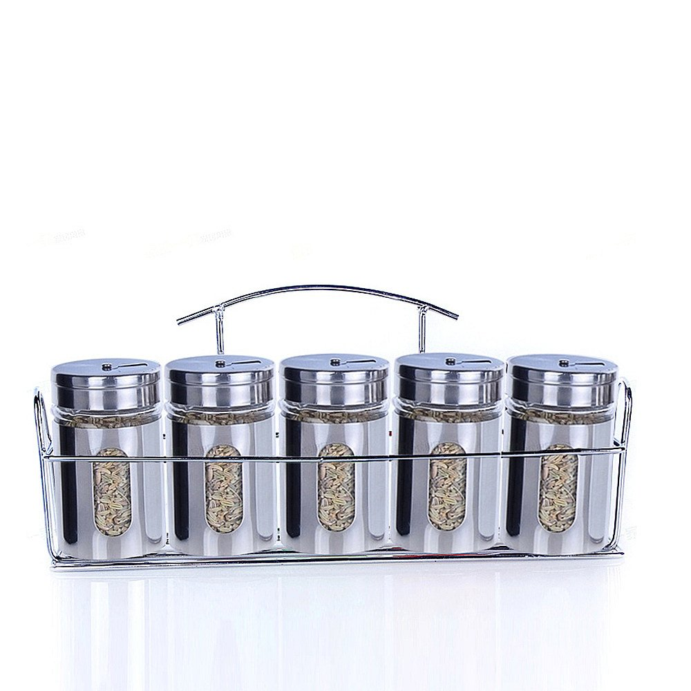 ETECHMART Salt and Pepper Shaker Set Seasoning Containers w/ Rack (Silver, Set of 5)