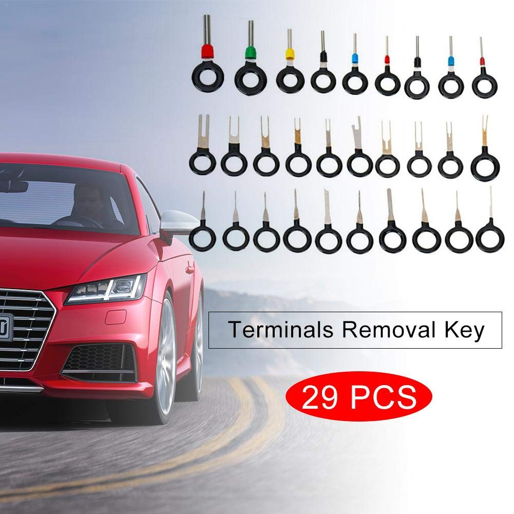 luckything 29pcs Terminal Removal Tools Automobile Cable Terminal Extraction Wrench Stainless Steel Extractor Crimp Connector Extractor