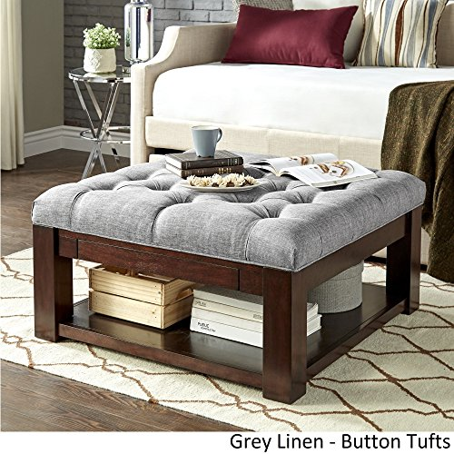 Inspire Q Lennon Espresso Square Storage Ottoman Coffee Table by Classic Grey Linen/Button (Button Tuft Ottoman)