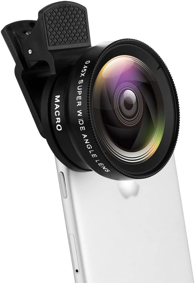 Pro Lens Kit for iPhone, Moontie Cell Phone Camera Lens 37MM 0.45X 49UV Super Wide Angle+12.5X Macro Lens, 2 in 1 Professional HD Camera Lens Kit for Most Smartphone/Ipad/Tablet No Dark Corners