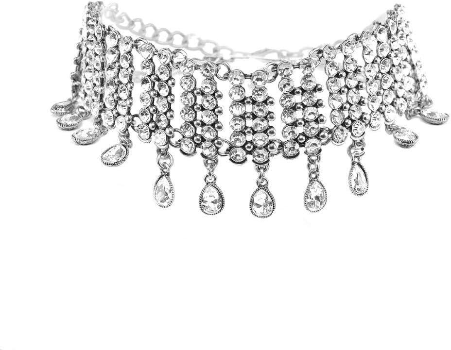 ZUXIANWANG Collar de Cristal de Forma de Gota de Agua Moda Rhinestone Borla Gargantilla Necklace Collar Babero Brillante declaración de joyería para la Mujer Mujer