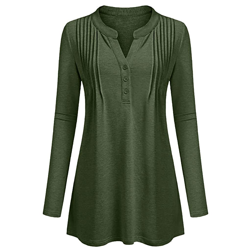 MITIY Womens Long Sleeve Shirt Casual Hem Tunic Tops