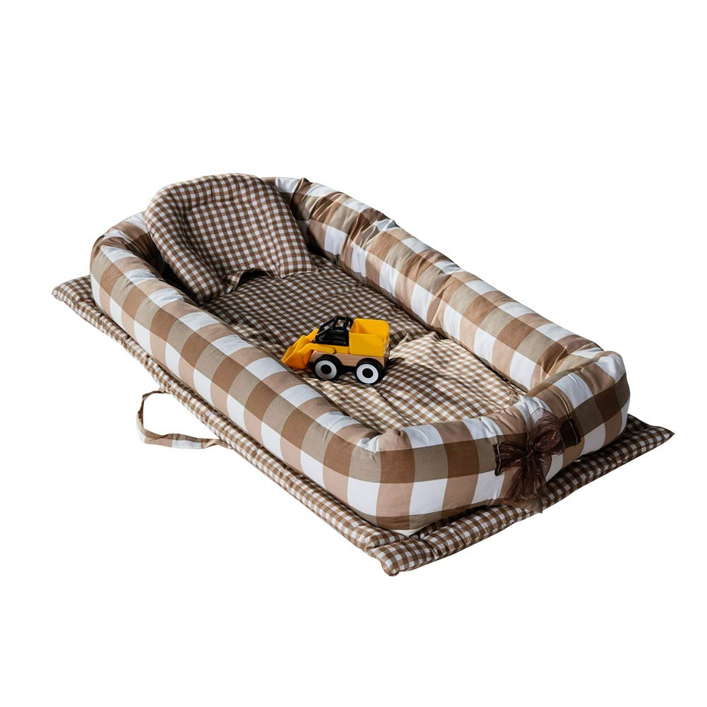 Jipai(TM) Baby Cot Bed Sleep Pod Soft Breathable Foam Nest with Pillow 0-12 Months (Brown Lattice)