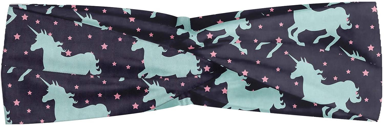 ABAKUHAUS Diadame Unicornio, Banda Elástica y Suave para Mujer para Deportes y Uso Diario Fantasía Siluetas de caballos con Star motivos adornado animal mítico, Oscuro Indigo multicolor