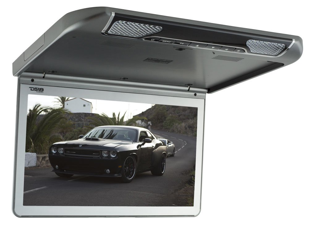 DS18 13.3'' Ultra Slim Roof Mount Monitor FDHQ13DV - Full 1080p HD Screen, Built-in DVD Player, HDMI Input for Easy Connections, 2'' Thick When Closed, Strong Aluminum Bezel - Grey