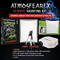 AtmosfearFX Witching Hour DVD Ultimate Haunting Kit, Includes Translusent Screen, Hologram Screen With Stand Kit and Free Tripod
