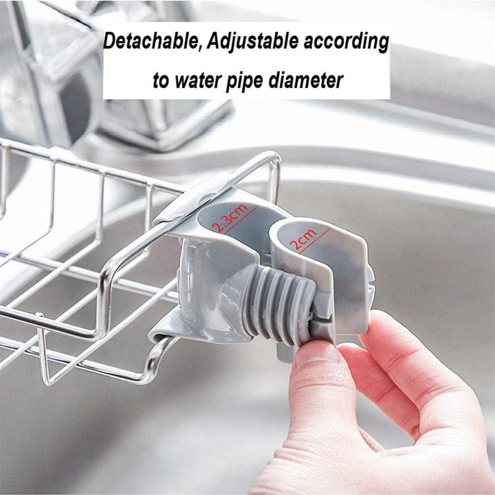 Yisireal Kitchen Faucet Sponge Holder Household Stainless Steel Punch-Free Sink Storage Shelf Dishwashing Drainer Shelf Soap Sponge Organizer