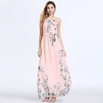 Longra 2018 Nuevo Producto Mujeres Verano Bohemia Túnica Fiesta Floral Beach Maxi Vestido largo Vestido de tirantes vestidos de fiesta para bodas: ...