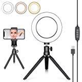 Neewer LED Ring Light 6-inch with Tripod Stand for YouTube Video Live Streaming Makeup Selfie, Desktop Mini USB Camera LED Light with Cell Phone Holder, 3 Light Modes and 11 Brightness Level