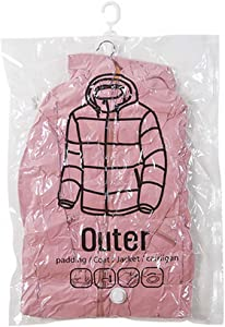 """QEES Hanging Vacuum Storage Bags, 26""""×51"""" Large Space Saving Compression Bags for Travel and Storage, Closet Organizer Vacuum Seal Clear Bags for Coat/Dress JJZ1203 (26""""×51"""")"""